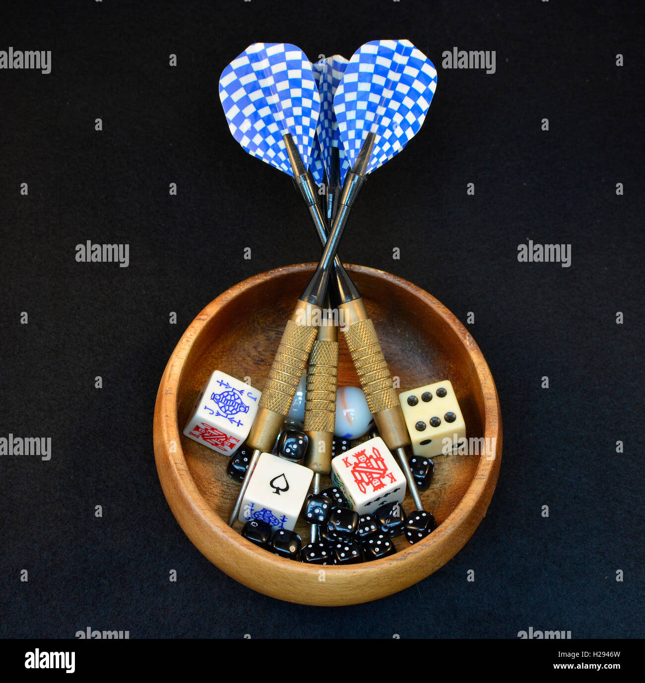 Selection through random methods. Darts, dice, cards and marbles. - Stock Image