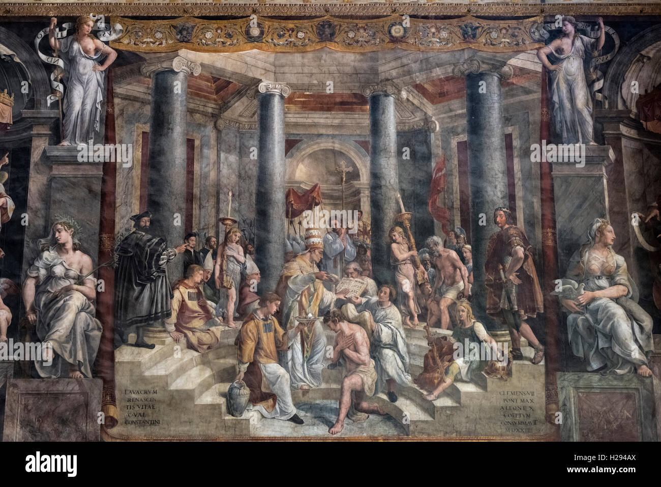 Rome. Italy. Fresco (1517-1524) depicting The Baptism of Constantine (detail), Hall of Constantine, Vatican Museums. - Stock Image