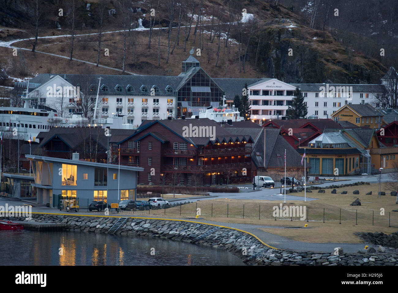 Flam cruise port in Norway. - Stock Image