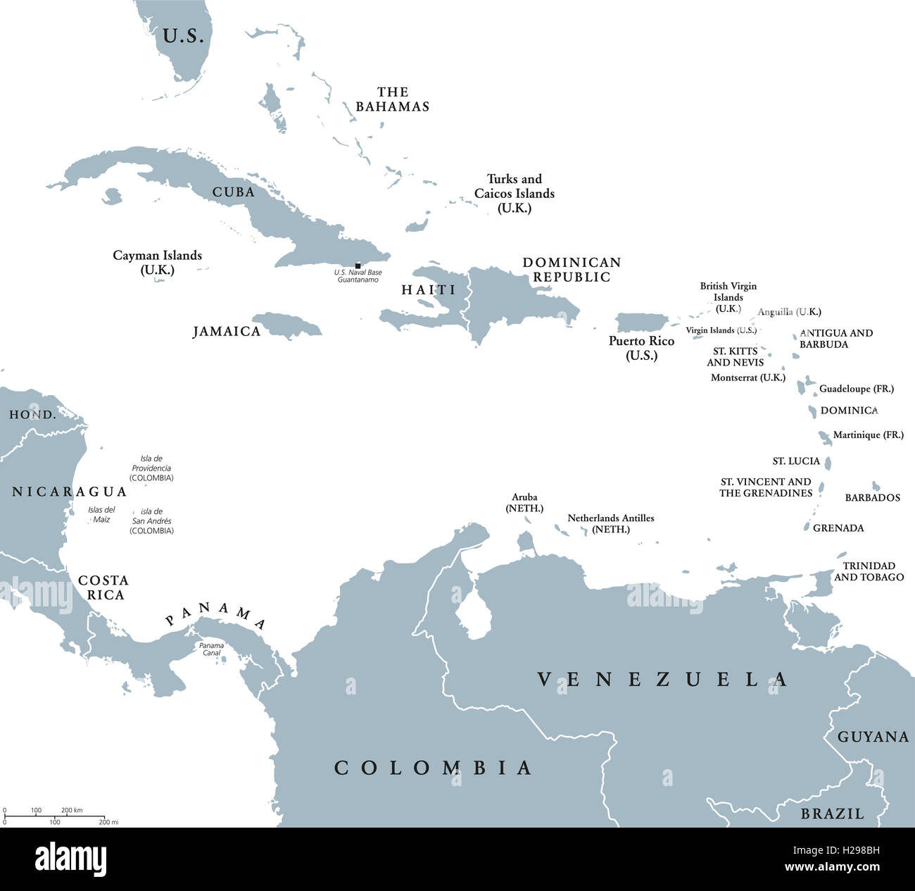 the caribbean countries political map with national borders the caribbean sea with greater lesser