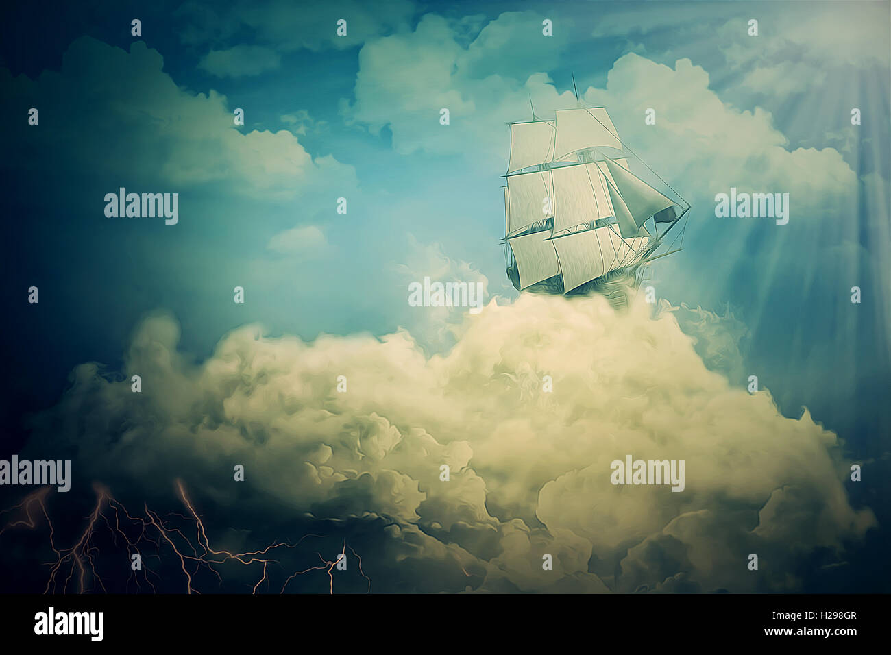 Surreal screensaver with an old ship sailing in the clouds - Surreal screensavers ...