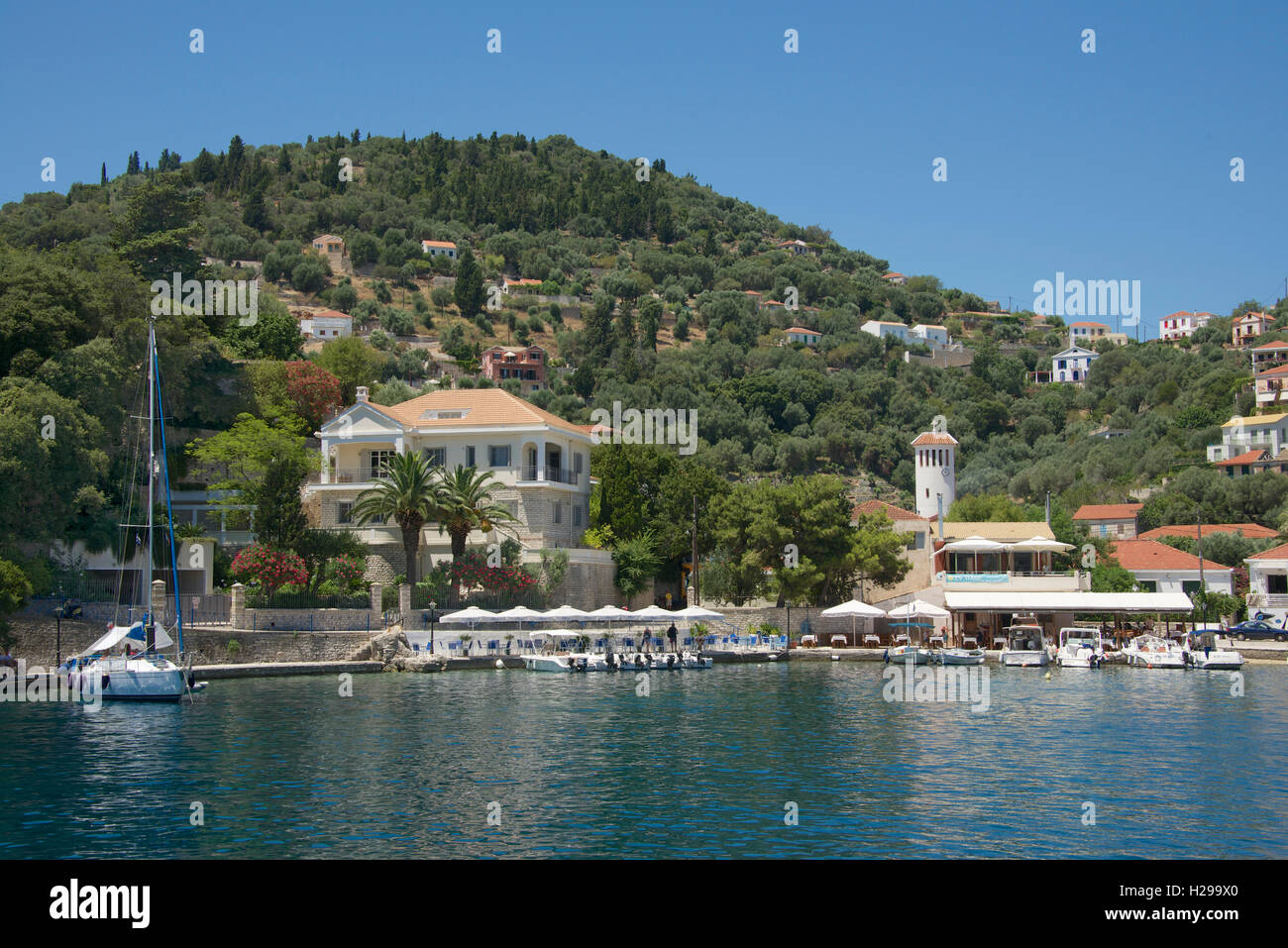 Waterfront house and town Kioni Ithaka Island Ionian Islands Greece - Stock Image