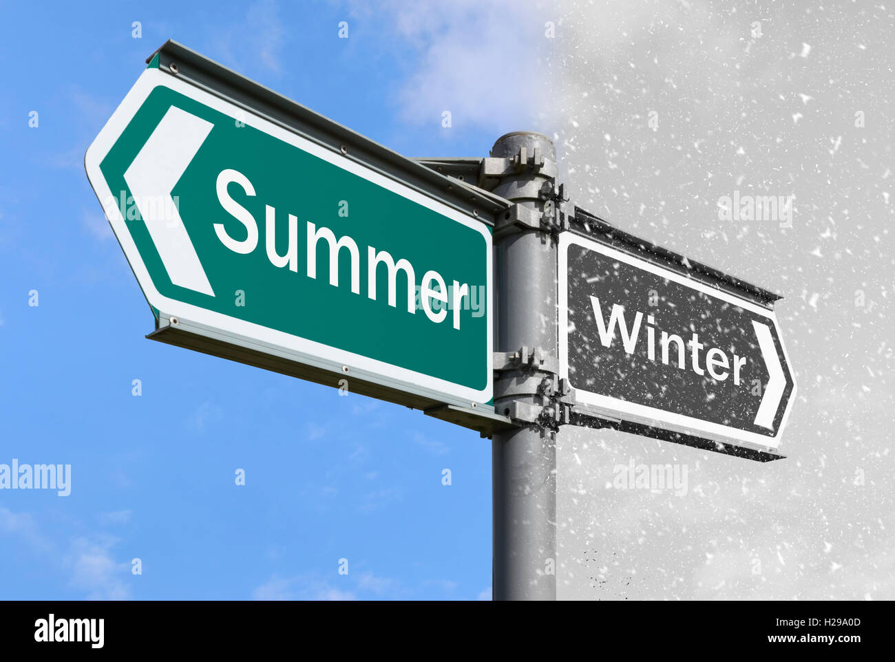Different seasons concept sign. Summer and Winter sign post. Summer and Winter. Winter and Summer. - Stock Image