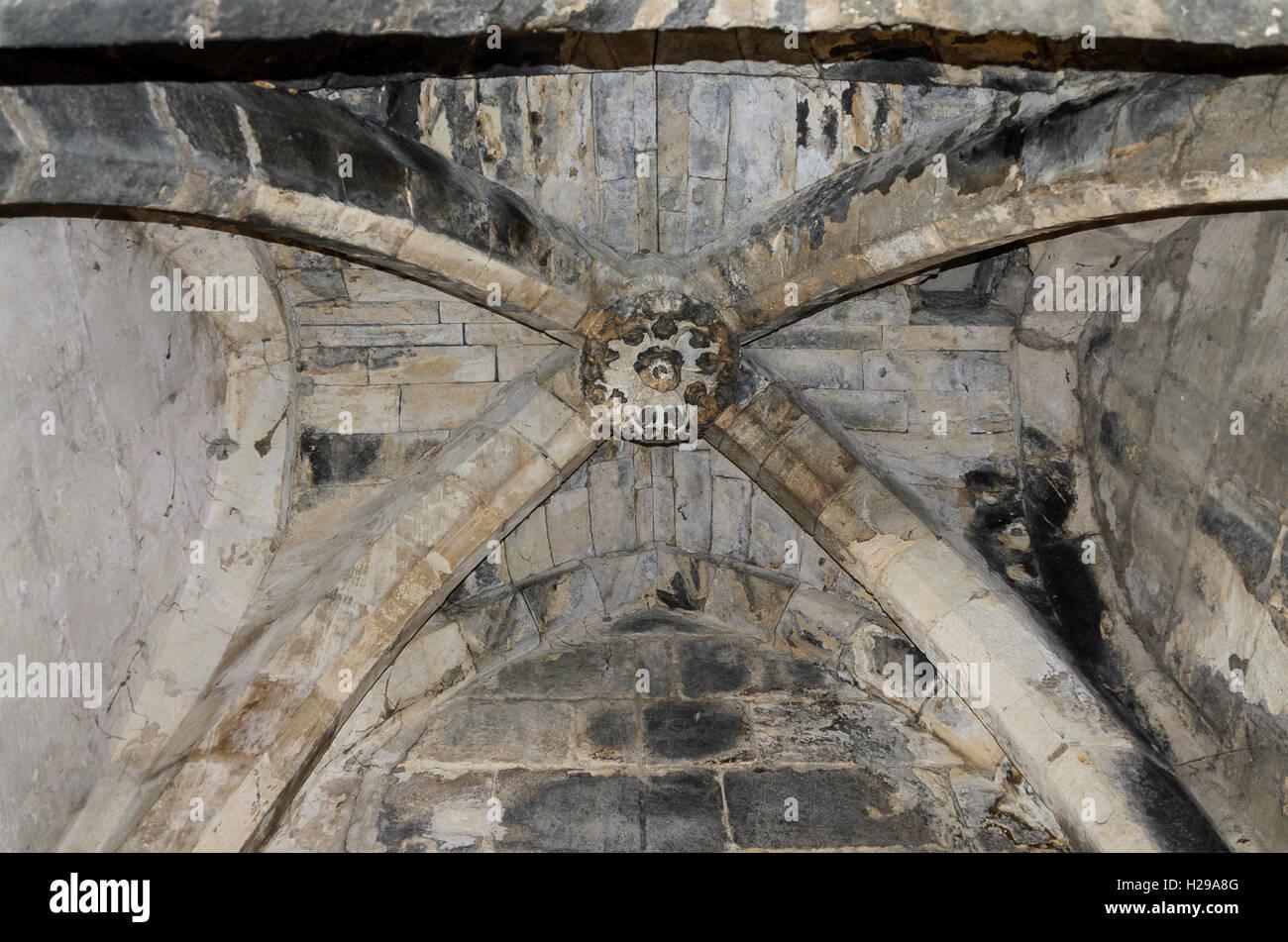 voute, Aigues Mortes, remparts, Gard, France - Stock Image