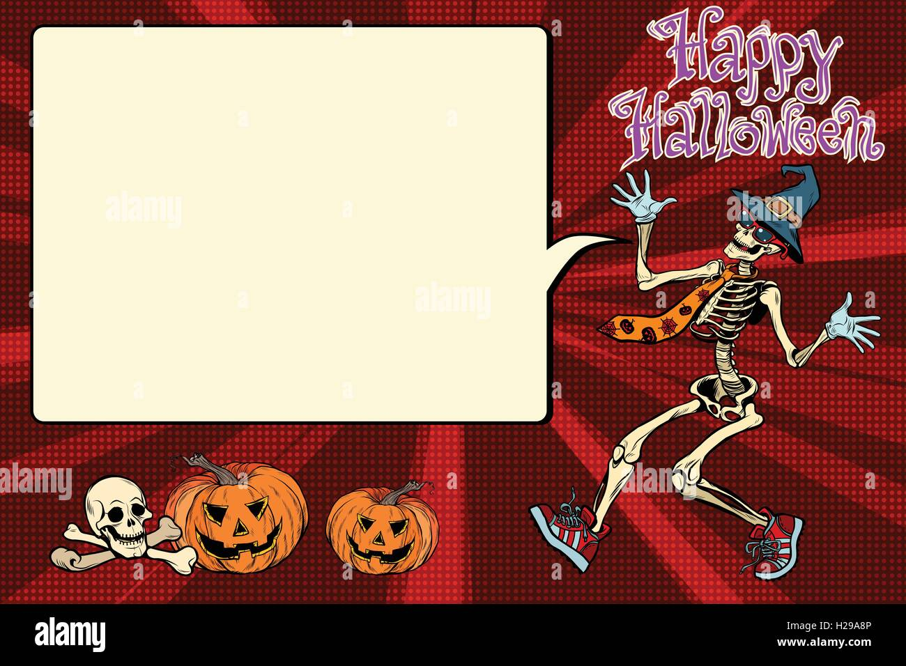 Happy Halloween funny skeleton invites you to a party - Stock Vector