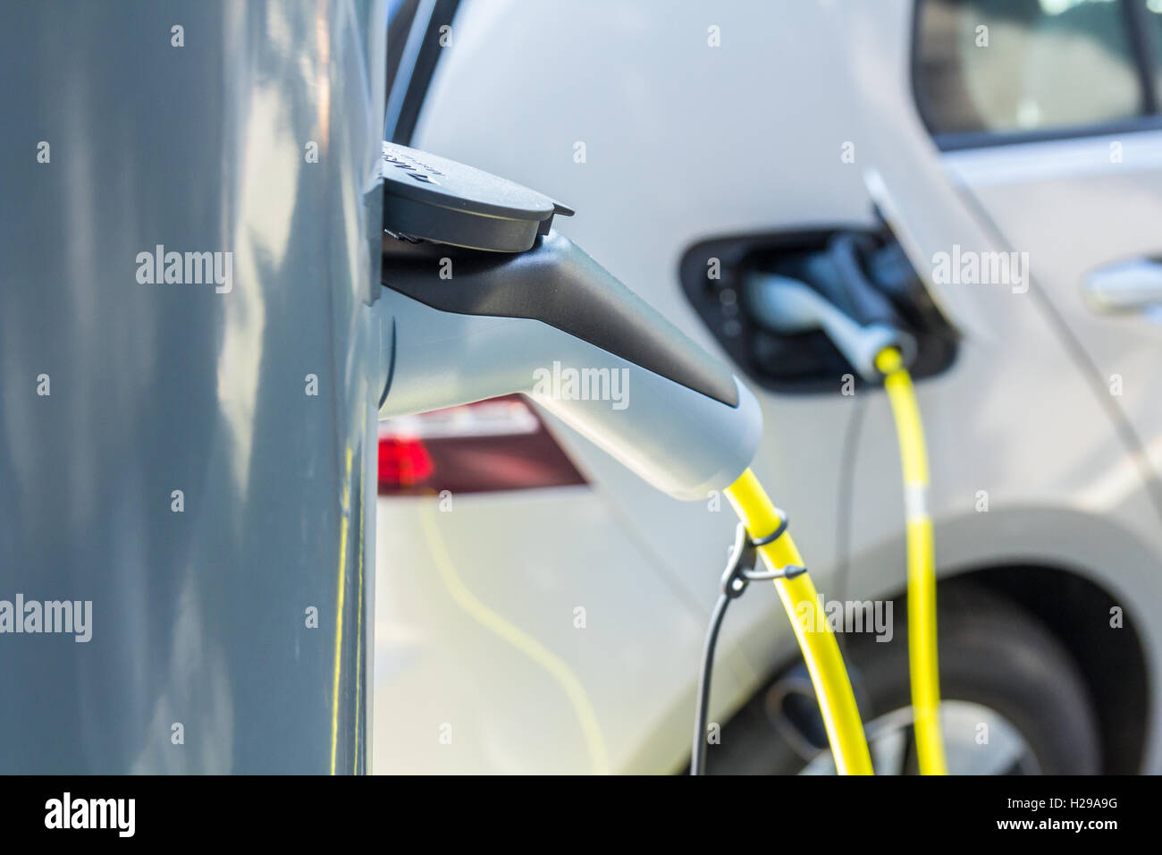 The Hague, the Netherlands - September 24, 2016: Plug in hybrid electric car charge point Stock Photo