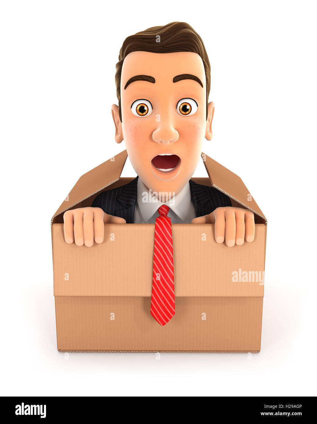 3d businessman coming out of the box, illustration with isolated white background Stock Photo