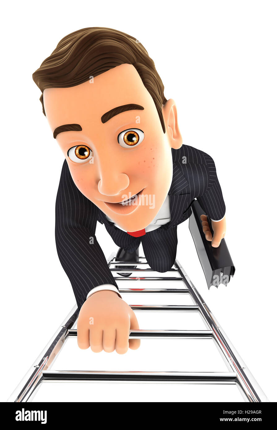 3d businessman climbing up the ladder, illustration with isolated white background Stock Photo