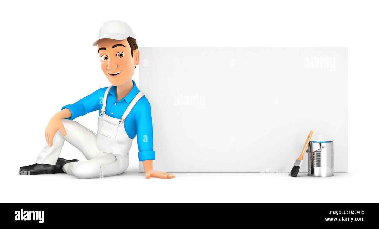 3d painter sitting next to blank wall, illustration with isolated white background Stock Photo
