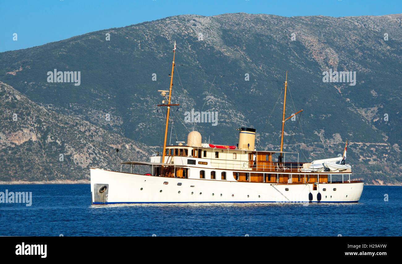 Fair Lady a beautifully restored 1928 ship Kefalonia Ionian Islands Greece - Stock Image