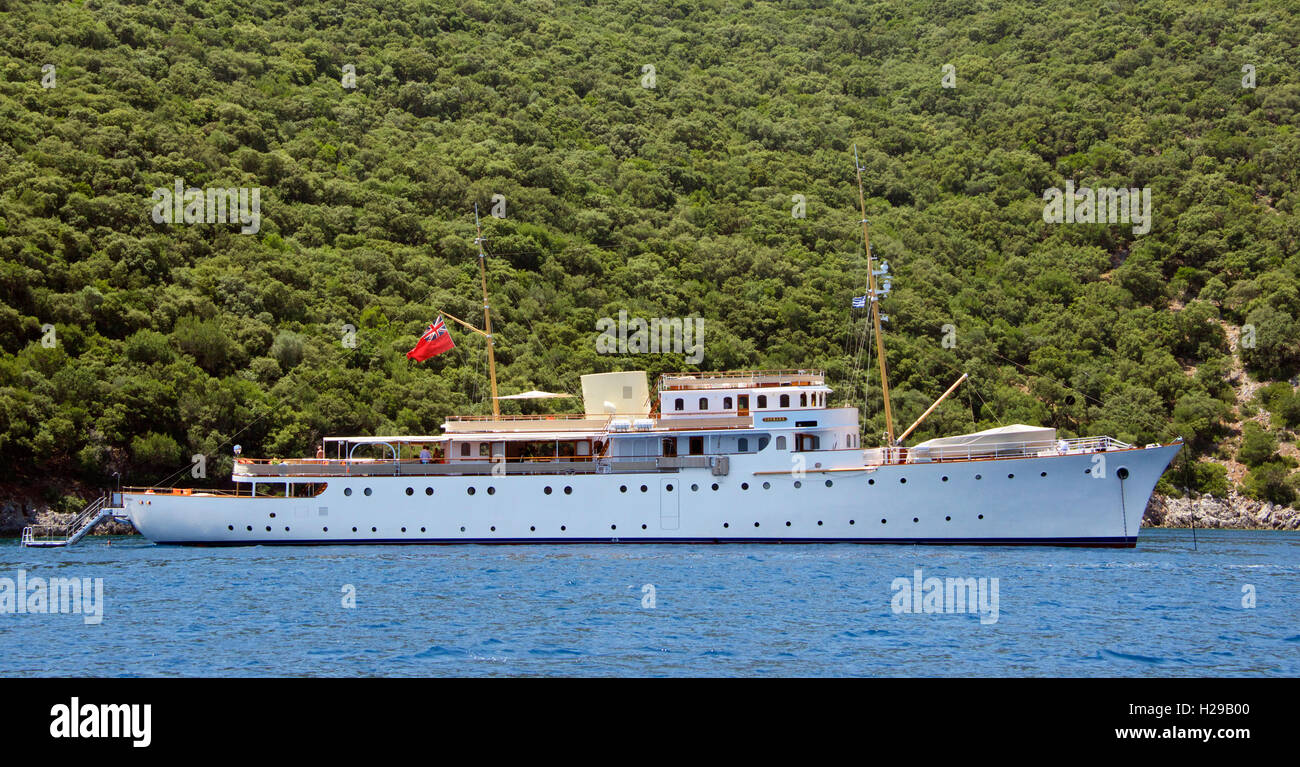 Shemara a beautifully restored 1938 ship Kefalonia Ionian Islands Greece - Stock Image