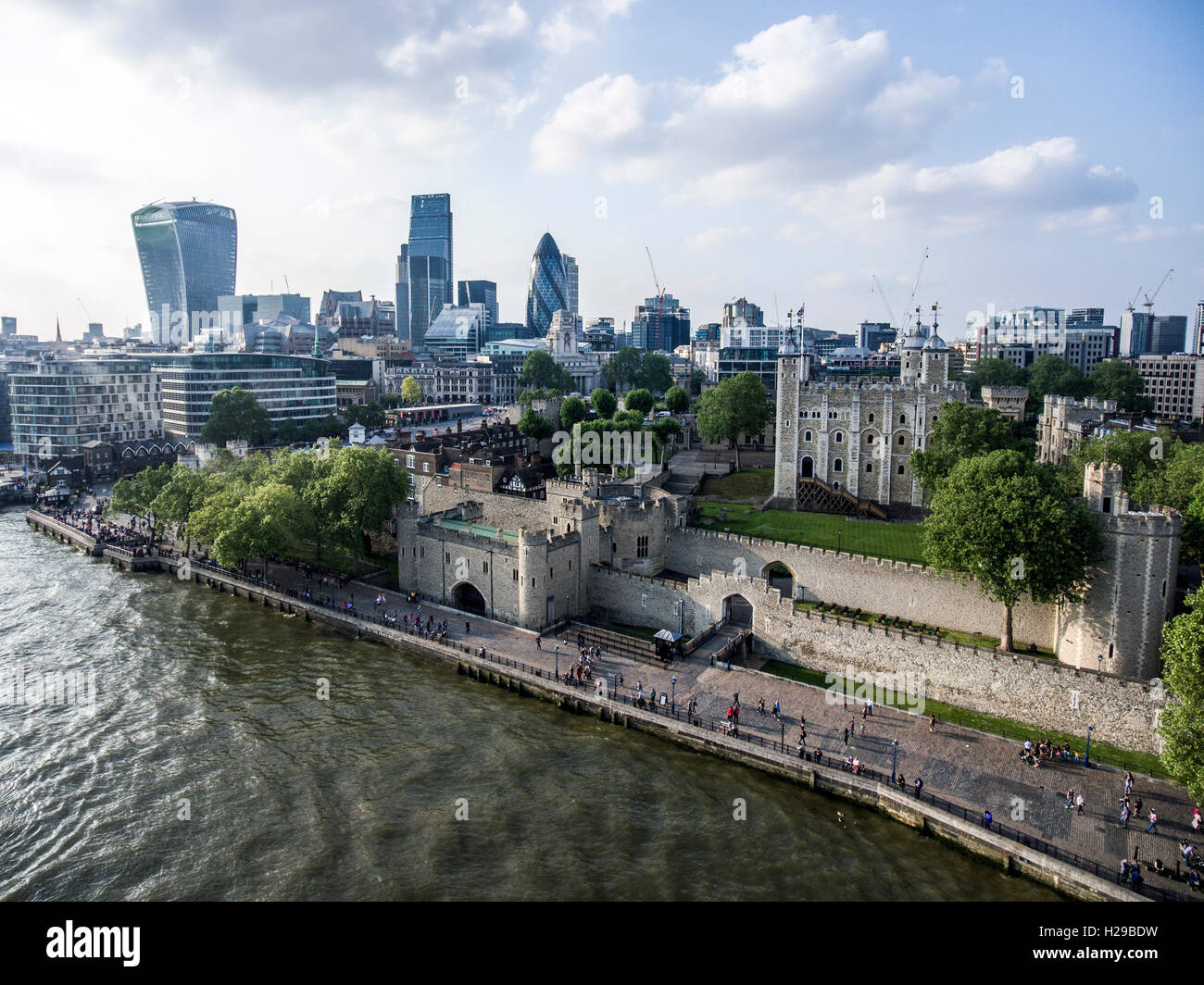 The City of London financial District skyline aerial view 2 - Stock Image