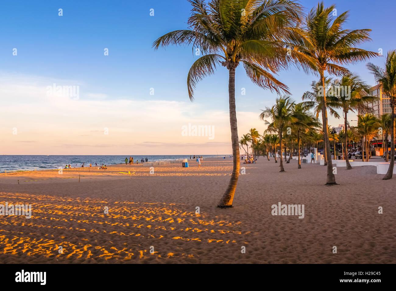 Miami Beach at sunset - Stock Image