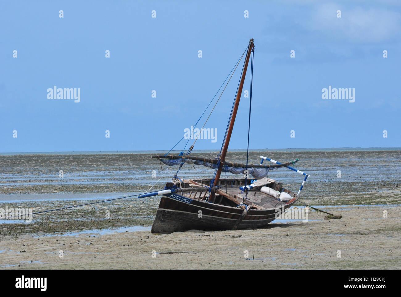 Traditional Fishing Boat - Mafia Island Tanzania - Stock Image