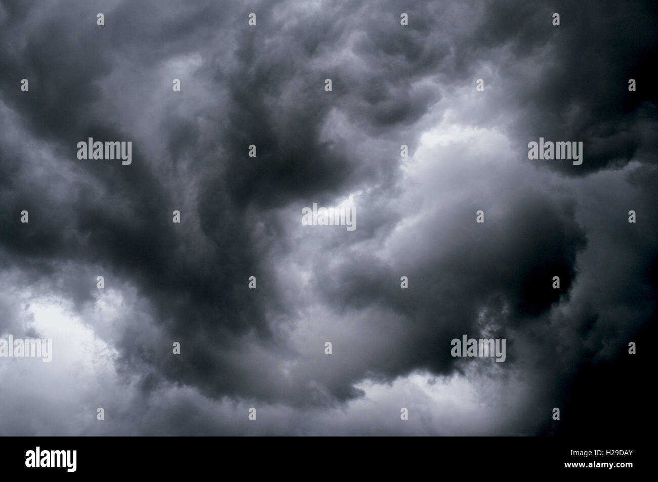 Angry Swirling Sky Showing Storm Rotation - Stock Image