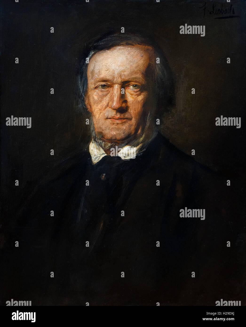 Richard Wagner. Portrait of the German composer, Wilhelm Richard Wagner (1813-1883), by Franz von Lenbach, oil on - Stock Image