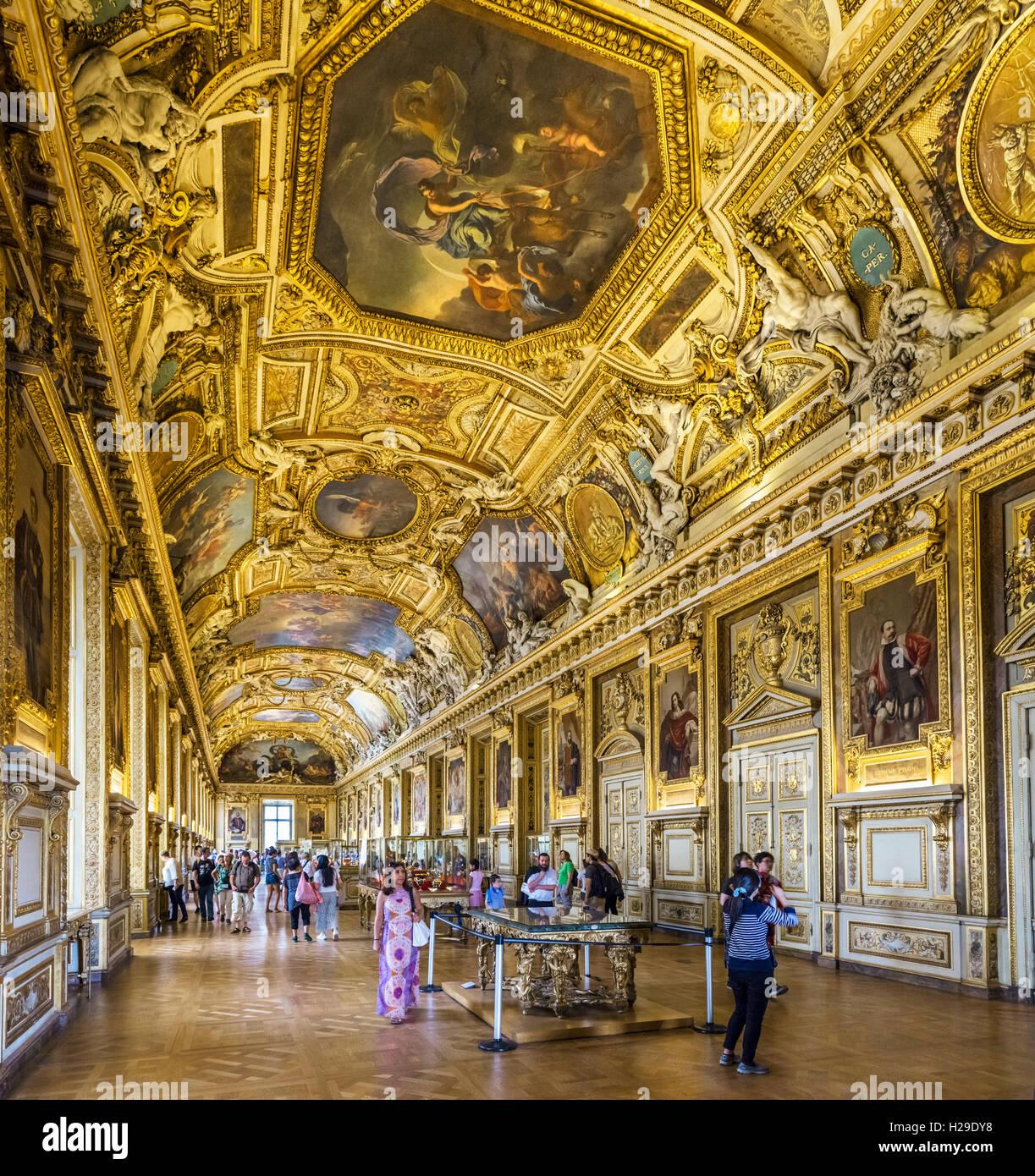 Louvre interior. La Galerie d'Apollon (Apollo Gallery), designed in 1661 by Louis Le Vau and Charles Le Brun - Stock Image