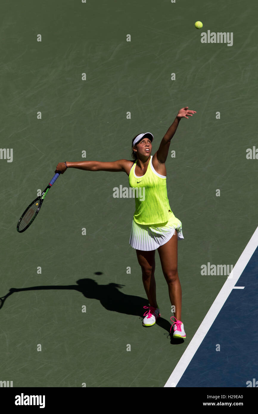 Madison Keys (USA) competing in the 2016 US Open - Stock Image