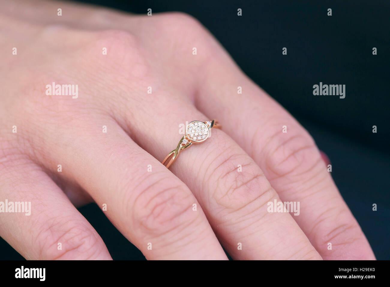 Diamond Engagement Ring On Black Background Stock Photos & Diamond ...