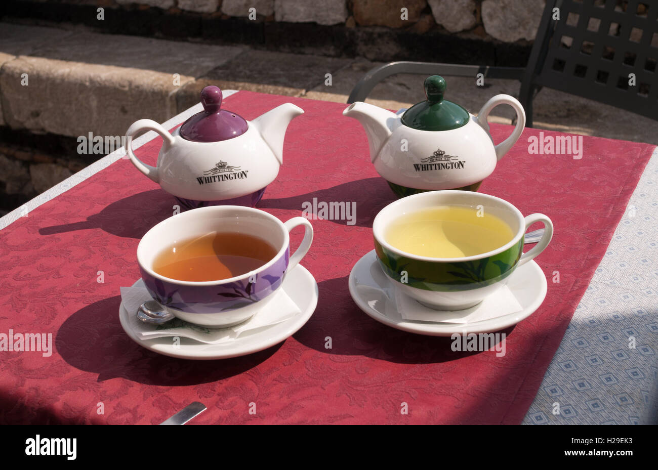 Tea for two,  Whittington teapots and matching cups and saucers, Castelmola, Sicily , Italy, Europe - Stock Image