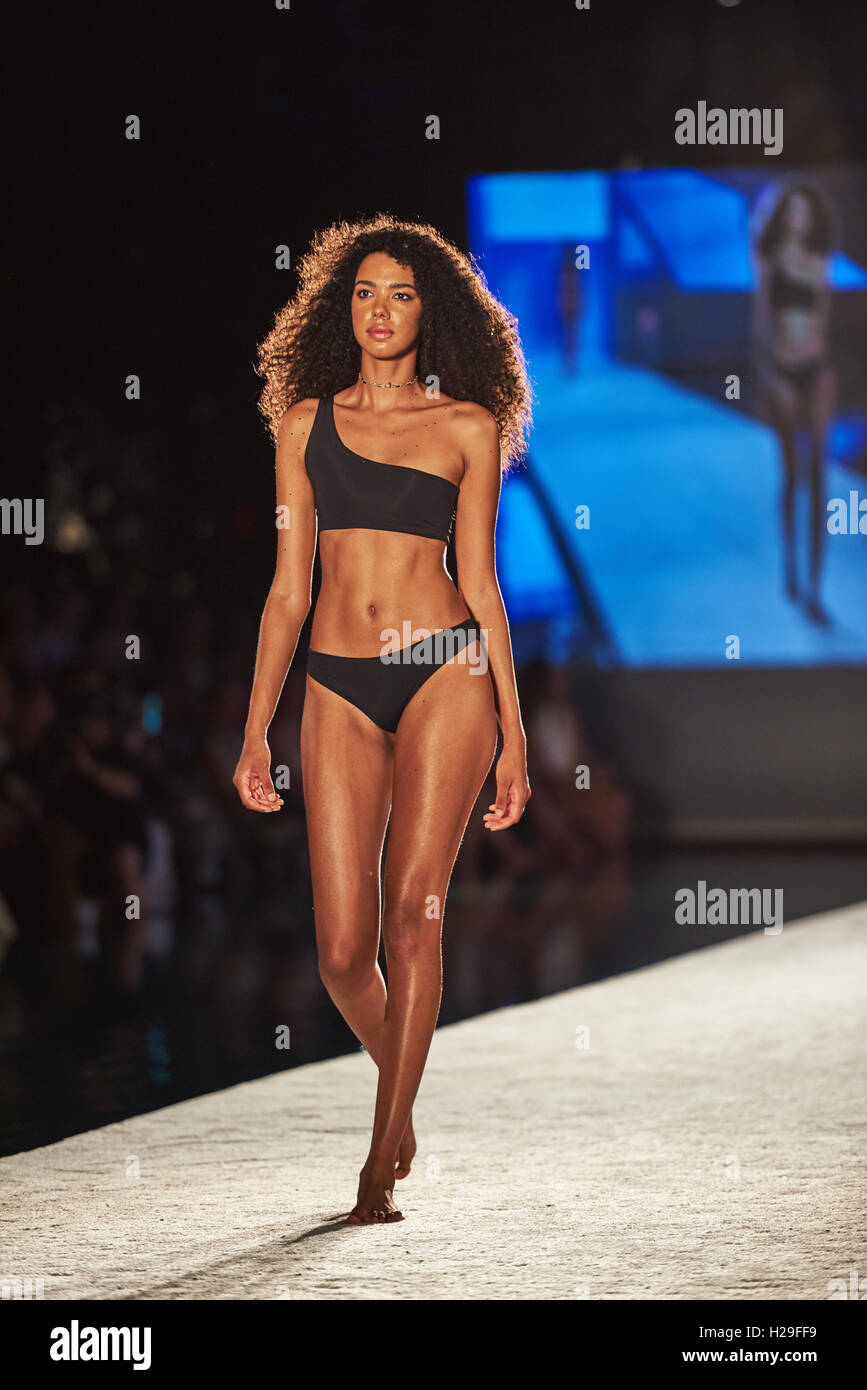Miami, South Beach, USA. July 2017. Images from Miami Swim Week an annual event showcasing swimsuit designers from - Stock Image