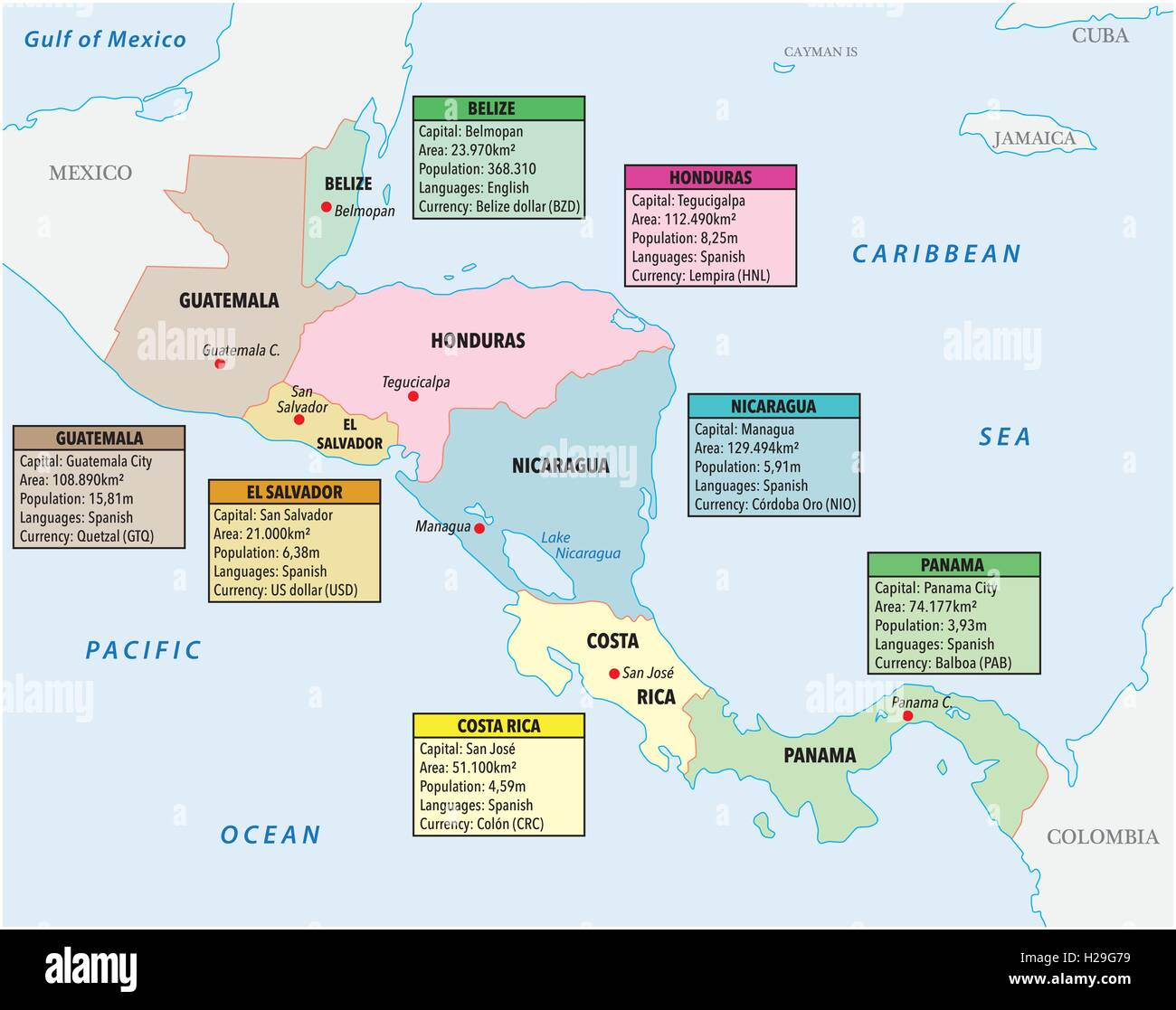 Map Of Central America Stock Photos & Map Of Central America Stock ...