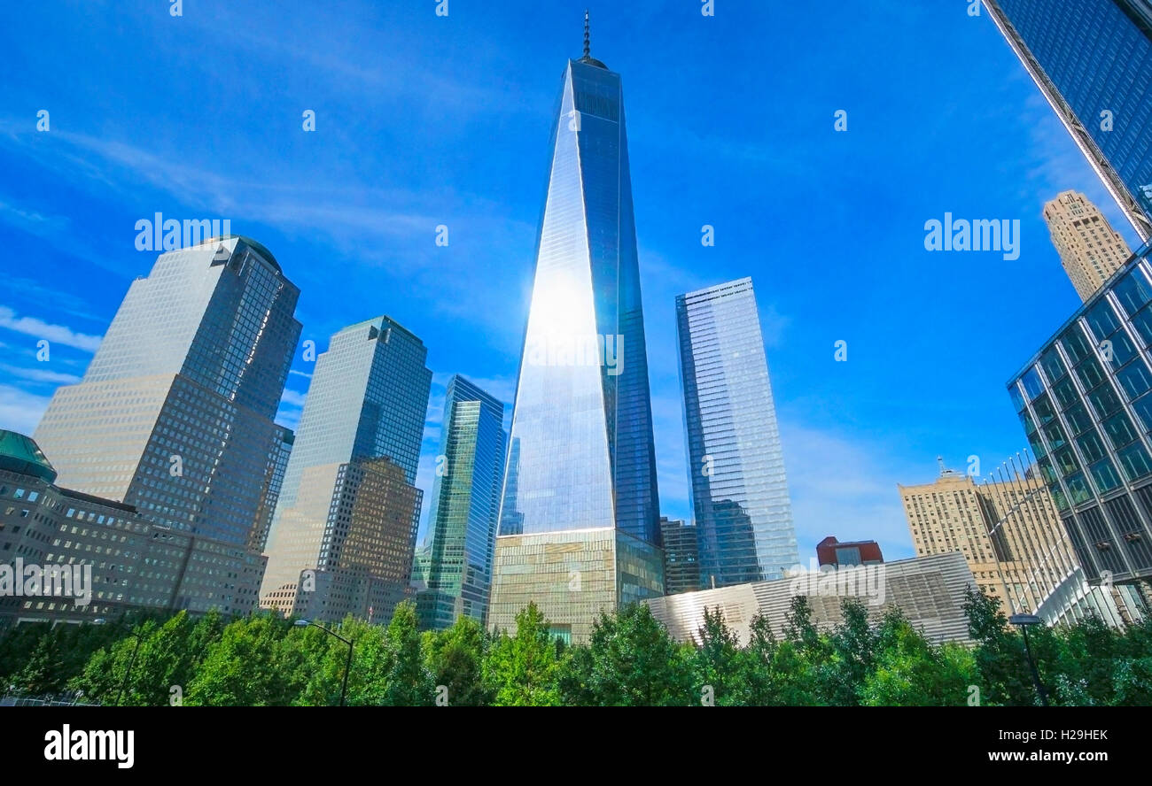 Wide view of the World Trade Center and the Freedom Tower in Lower Manhattan in New York City - Stock Image