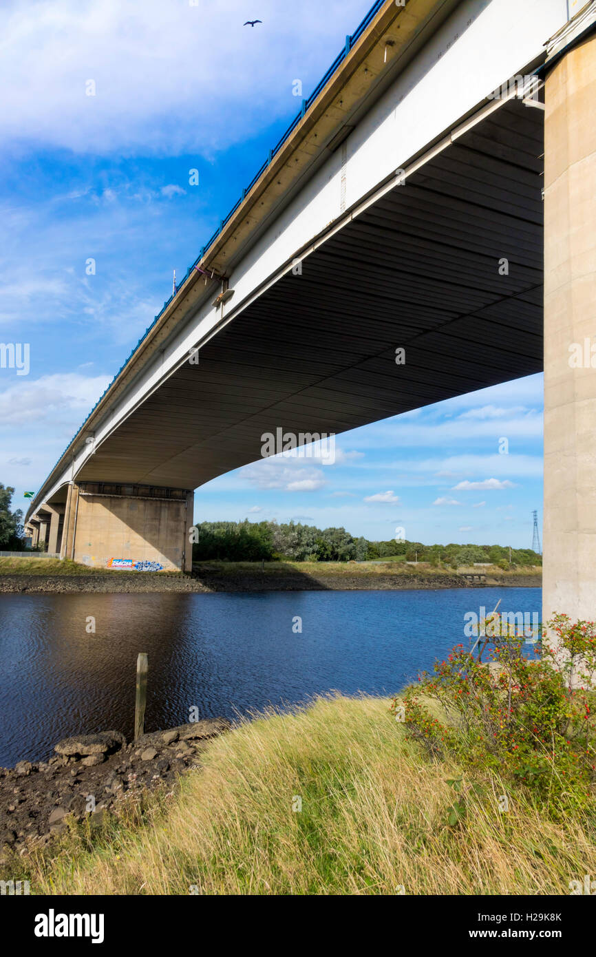 The Tees Viaduct or Flyover a plate girder bridge on concrete piers carrying the 6-lane A19 Trunk Road over the - Stock Image