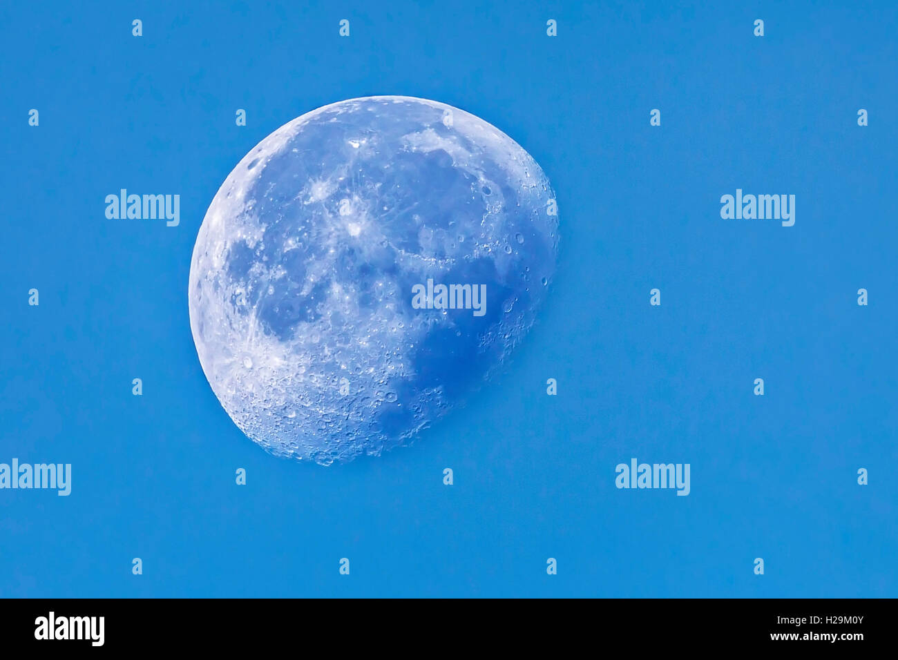 Three Quarter moon in the morning sky. - Stock Image