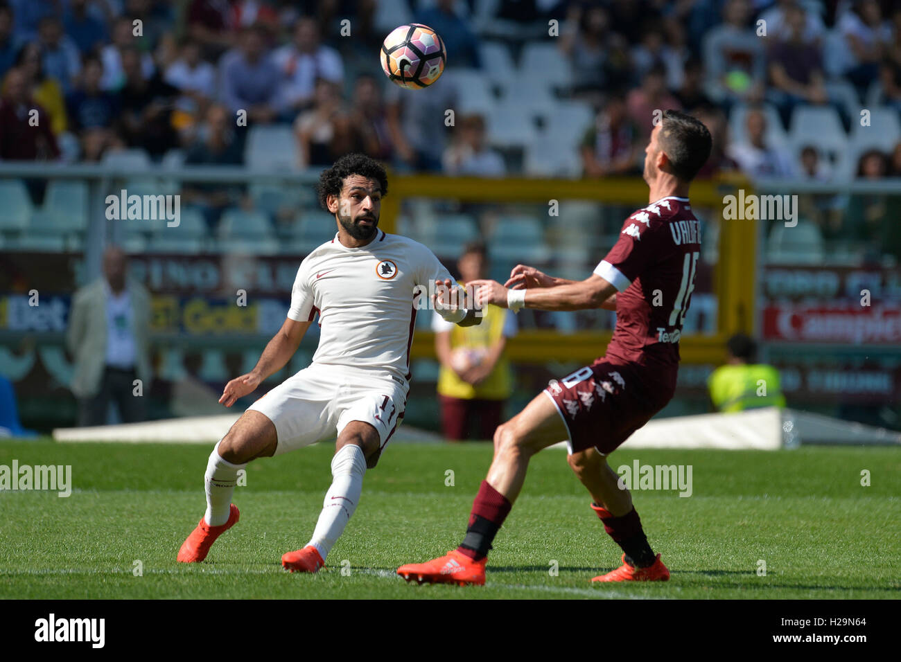 Stadio Olimpico Grande Torino, Turin, Italy. 25th Sep, 2016. Serie A Football. Torino versus Roma. Mohamed Salah Stock Photo