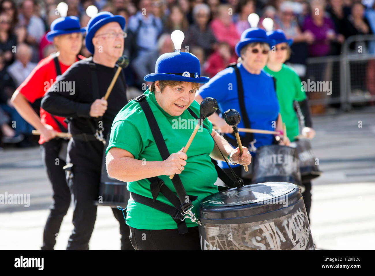 London, UK. 25th September, 2016. Drummers at the Pearly Kings and Queens Harvest Festival at Guildhall Yard, London, - Stock Image