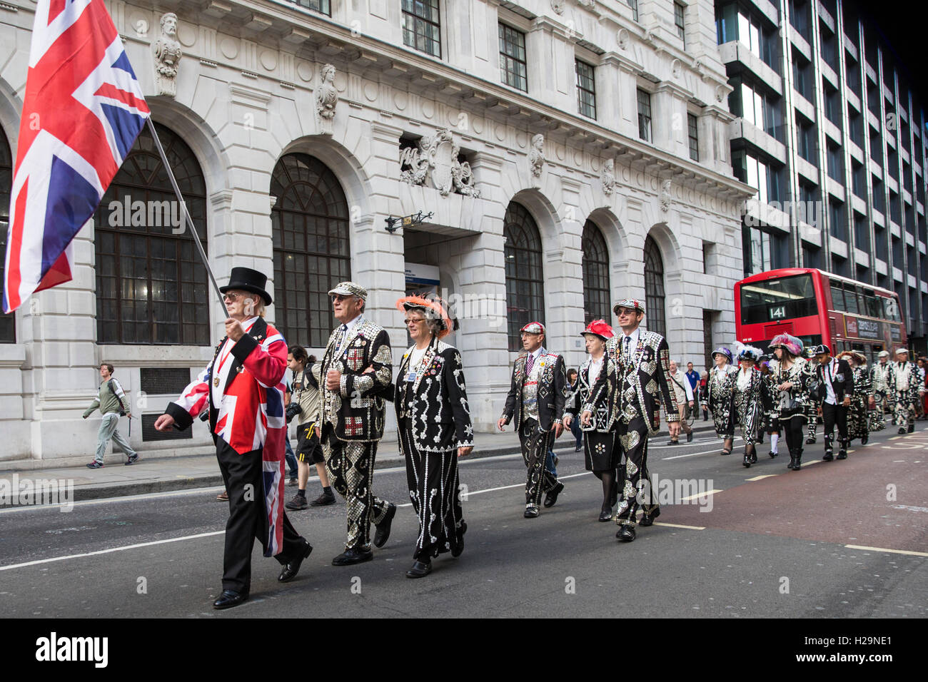 London, UK. 25th September, 2016. Pearly Kings and Queens Harvest Festival at Guildhall Yard, London, England. Credit: - Stock Image