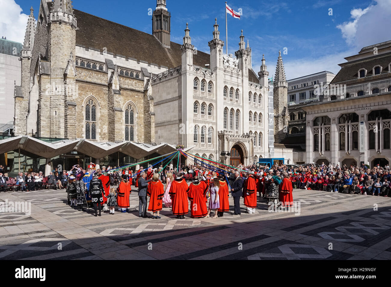 Pearly Kings and Queens Harvest Festival at Guildhall Yard, London England United Kingdom UK - Stock Image