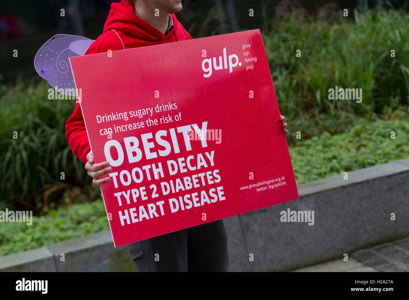 Liverpool, Merseyside, UK.  26th September, 2016. Anti-Obesity campaigners outside the Labour Conference Arena. - Stock Image