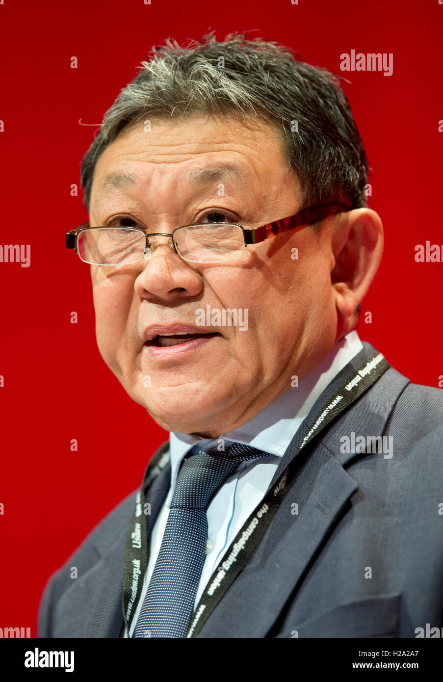 Liverpool, UK. 26th September 2016. Sonny Leong CBE of Chinese for Labour speaks at day two of the Labour Party - Stock Image
