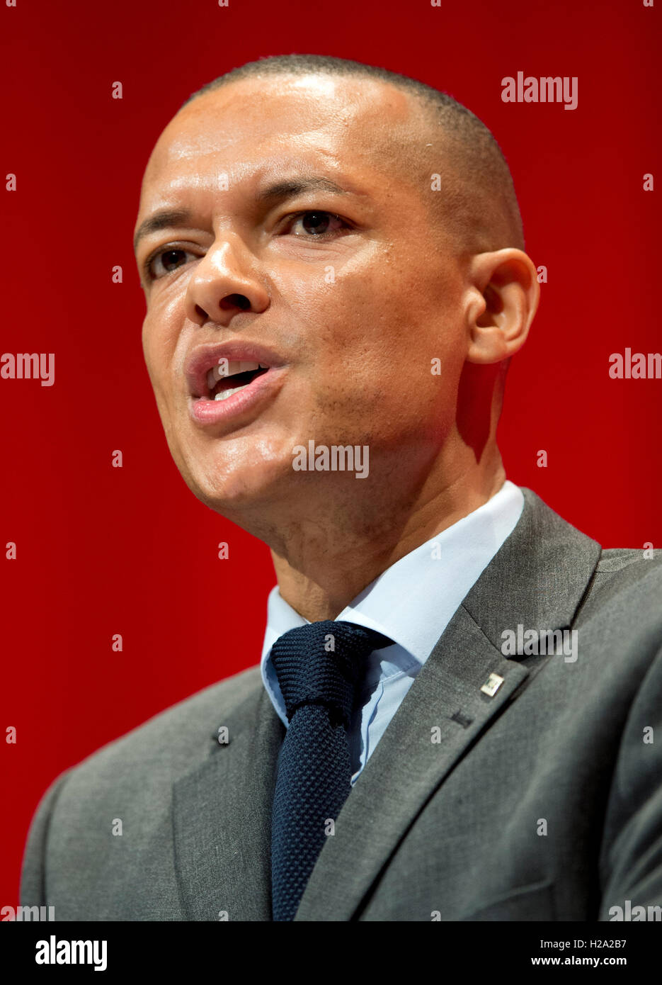 Liverpool, UK. 26th September 2016. Shadow Secretary of State for Defence Clive Lewis MP speaks at day two of the - Stock Image