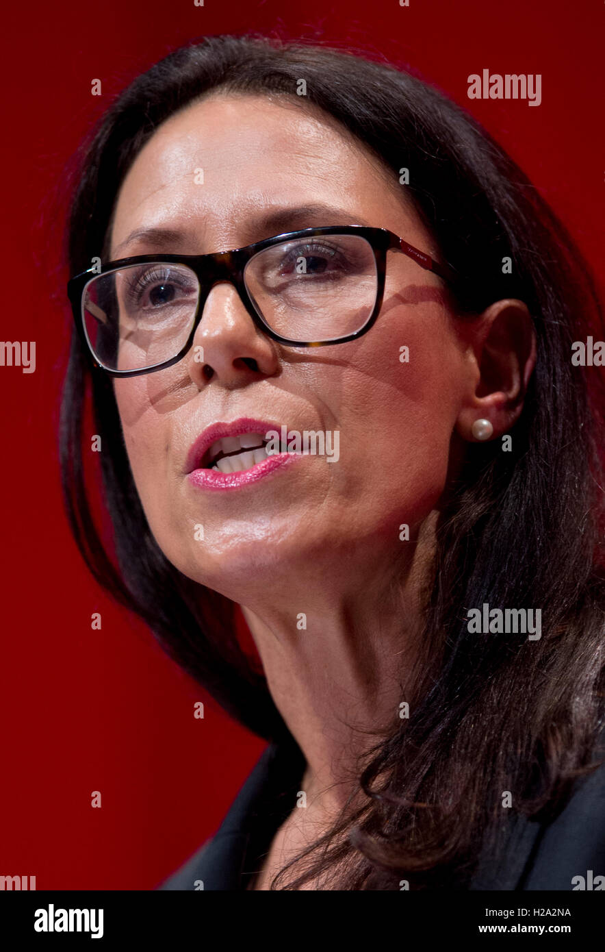 Liverpool, UK. 26th September 2016. Shadow Secretary of State for Work and Pensions Debbie Abrahams MP speaks at - Stock Image