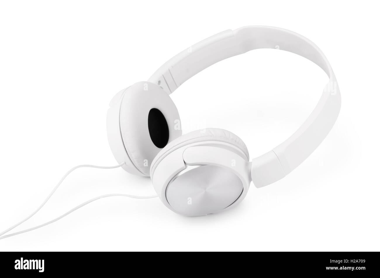 White headphones isolated on white background - Stock Image