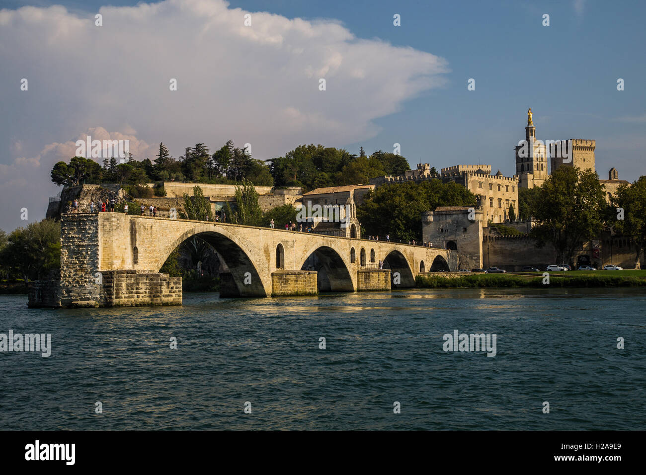 The Pont d'Avignon - the Pont Saint Benezet  - all that remains are four arches - Stock Image
