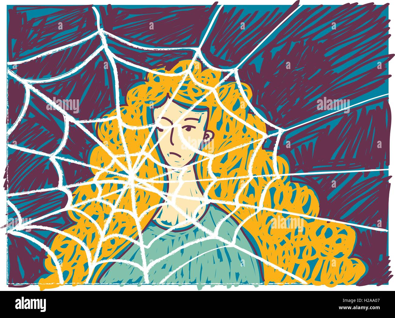 Pretty young unhappy woman in depression doodles. - Stock Vector