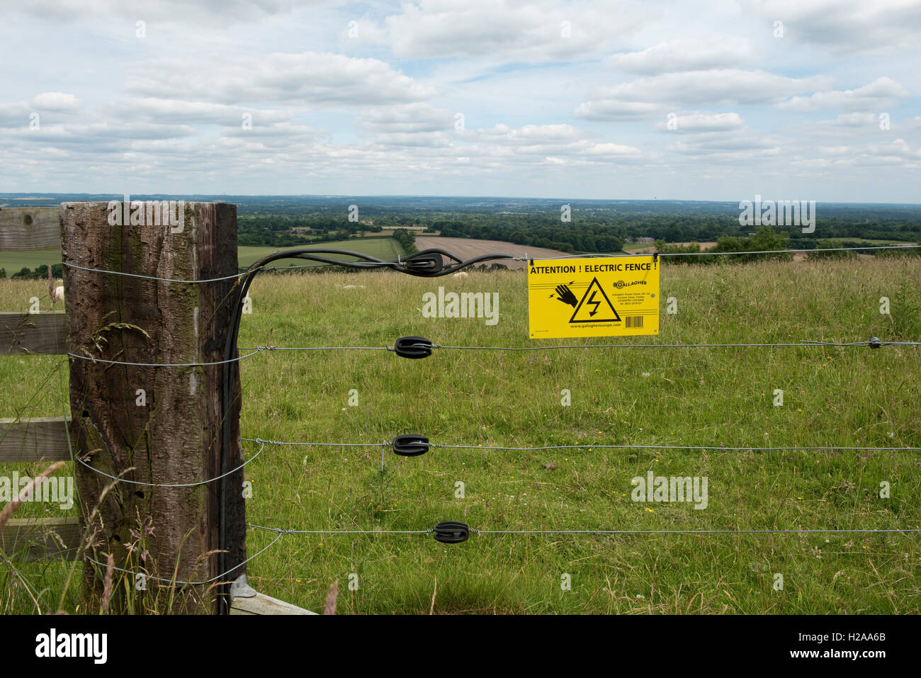 Large post with strung electric fence, insulators and warning sign for a shhep field on the Berkshire downs, July - Stock Image