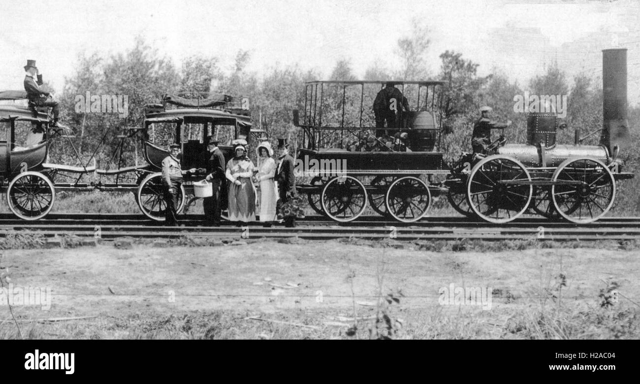 DeWITT CLINTON 0-4-0 STEAM LOCOMOTIVE on the Mohawk and Hudson Railroad about 1832 - Stock Image