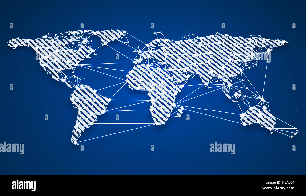 World-wide web communication on blue background (done in 3d rendering) - Stock Image