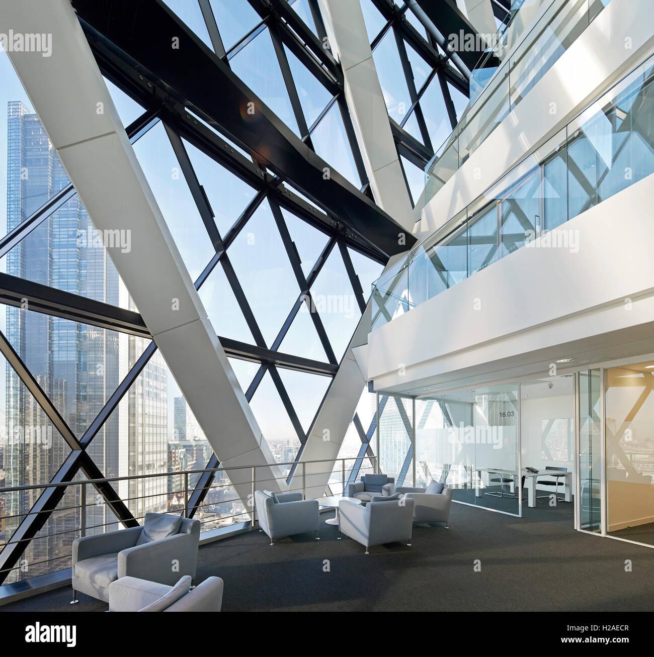 Interior steel frame on upper level. The Gherkin, London, United ...