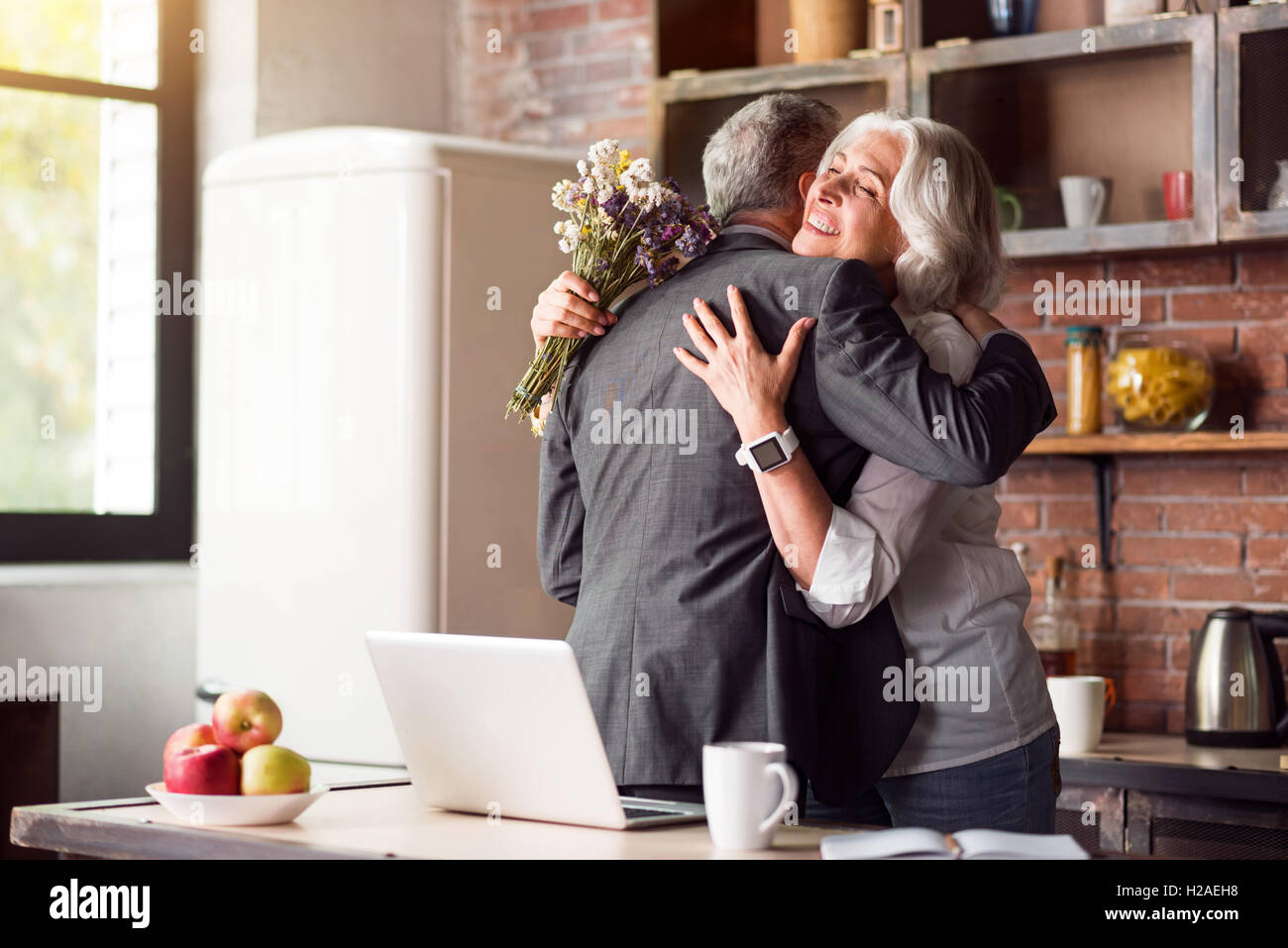 Happy wedding anniversary of elderly people - Stock Image