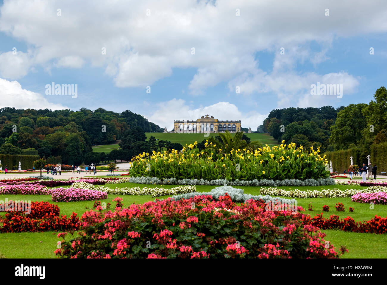 Gloriette in the Schonbrunn palace gardens. - Stock Image