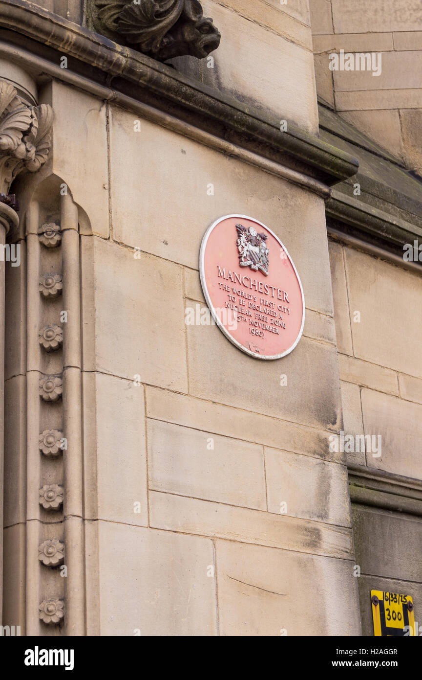 Nuclear-free zone plaque outside Manchester Town Hall, by Alfred Waterhouse, 1868 - 1877, Albert Square, Manchester, - Stock Image