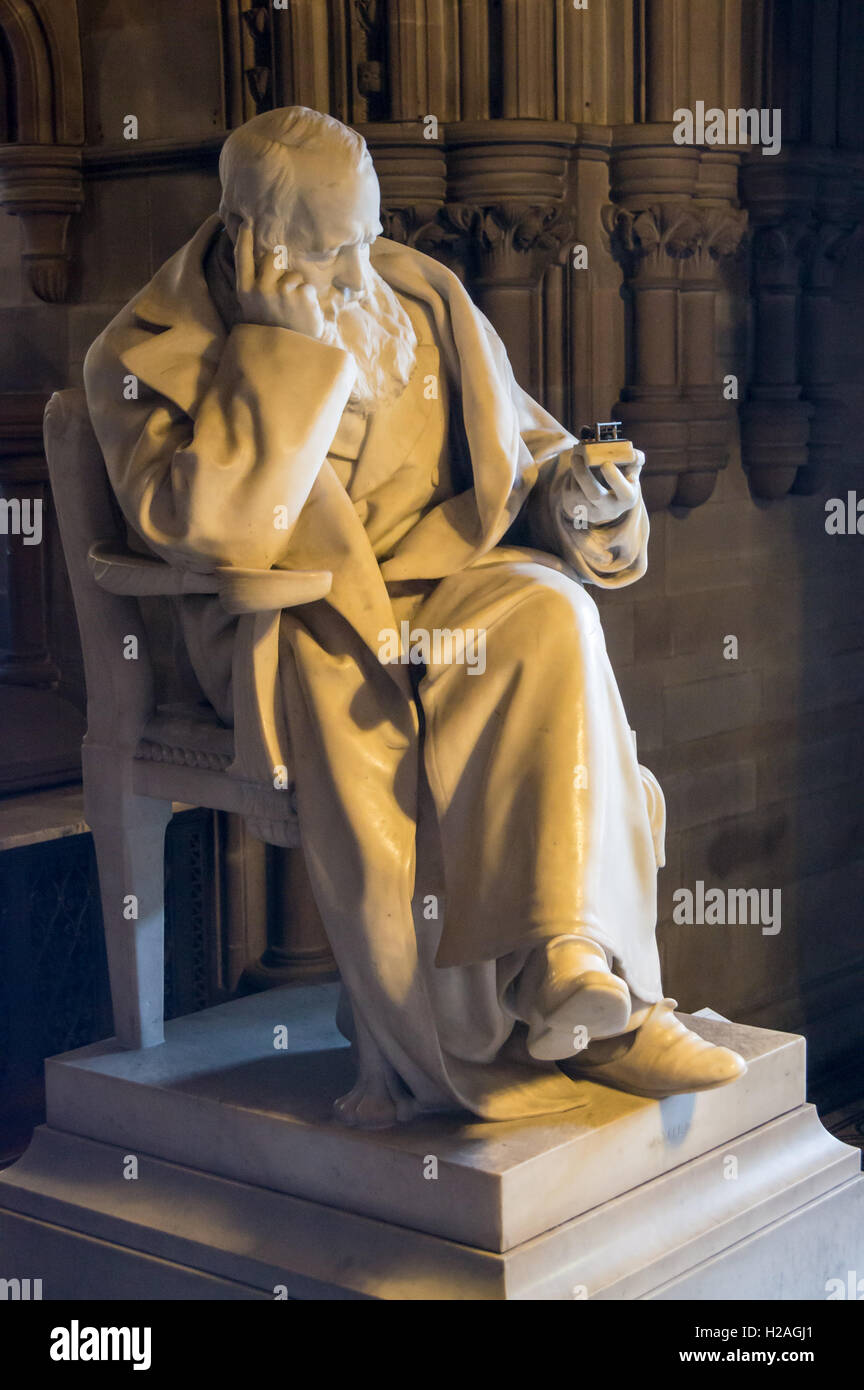 Statue of J.P. Joule, physicist, by Sir Alfred Gilbert (1854-1934), 1893, Manchester Town Hall, Albert Square Manchester - Stock Image