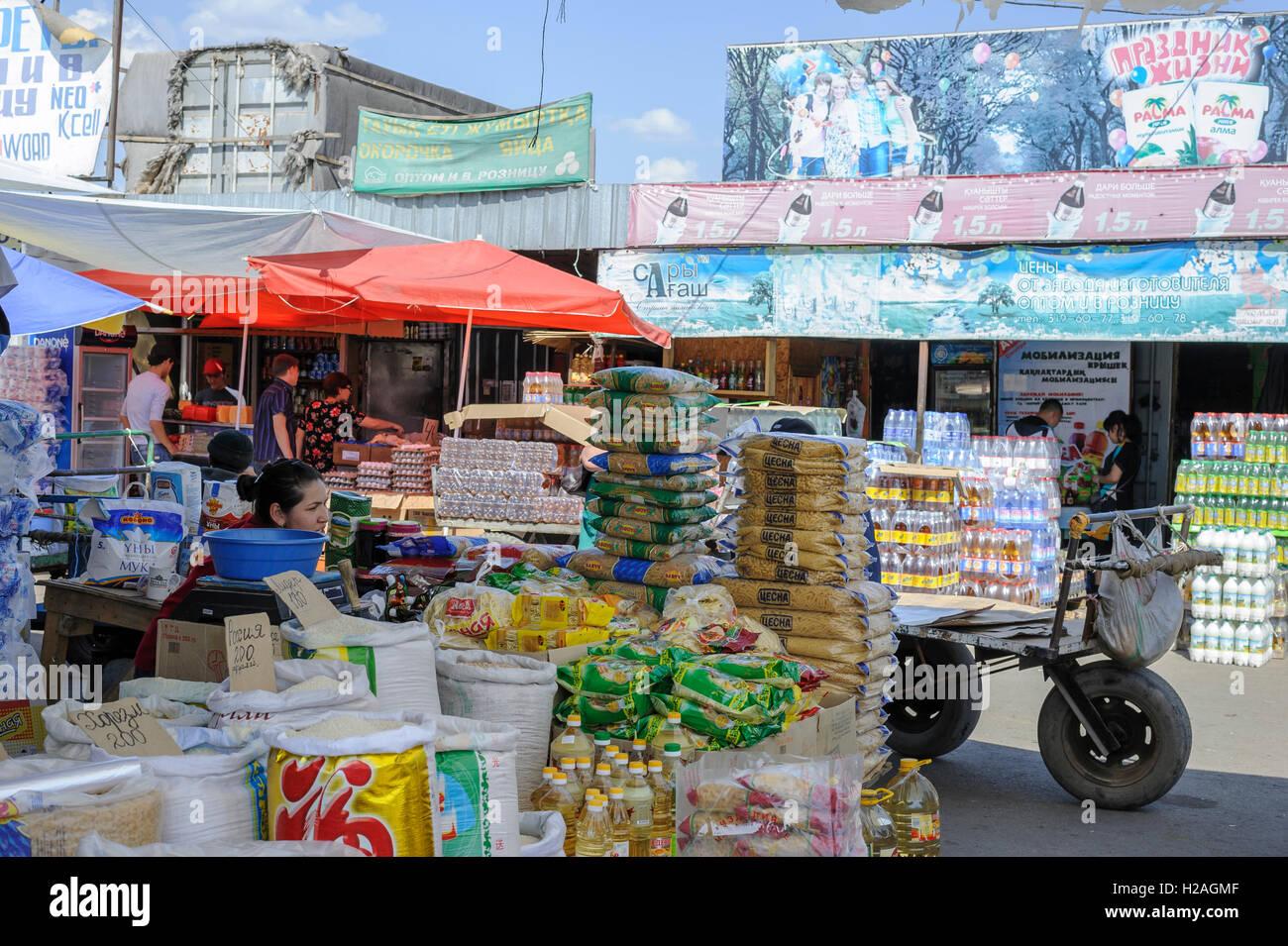 Traditional food souq, Almaty, Kazakhstan - Stock Image