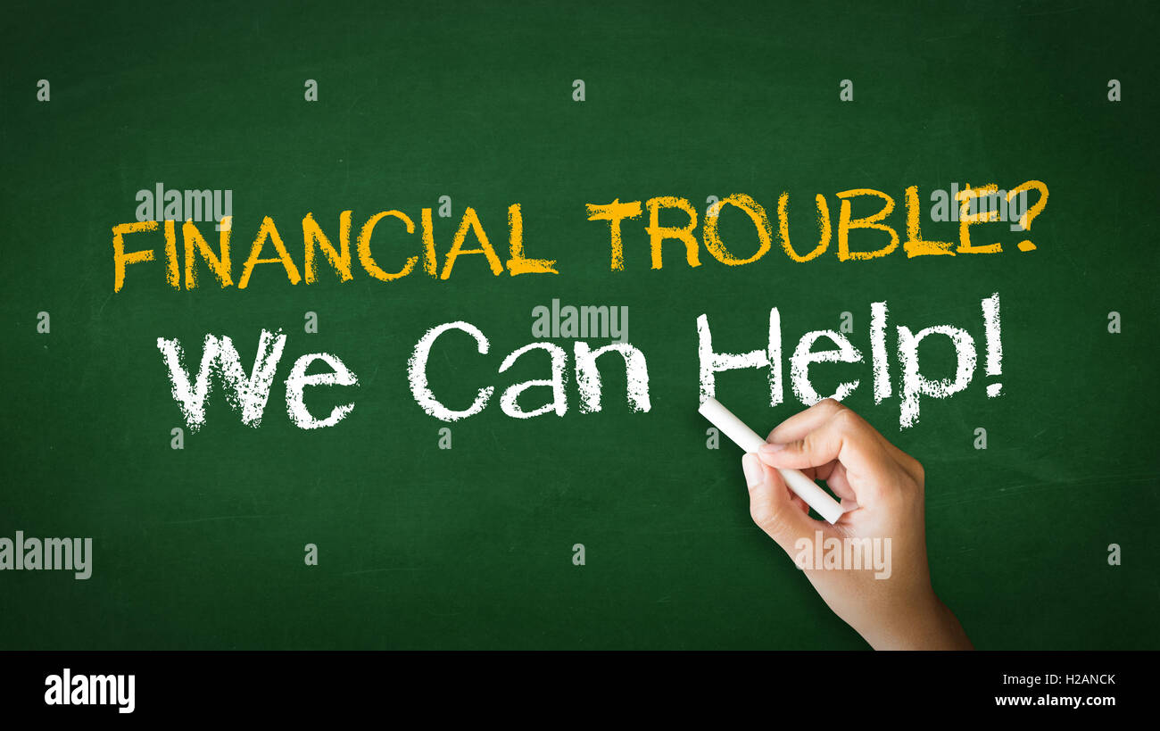 Financial Trouble Chalk Illustration - Stock Image